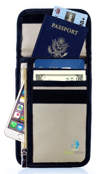 North Action RFID Passport Neck Holder Travel Organizer