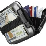 Wallet SHARKK RFID Protected Aluminum Wallet with Cash Band Rugged Water Resistant Wallet Card Holder