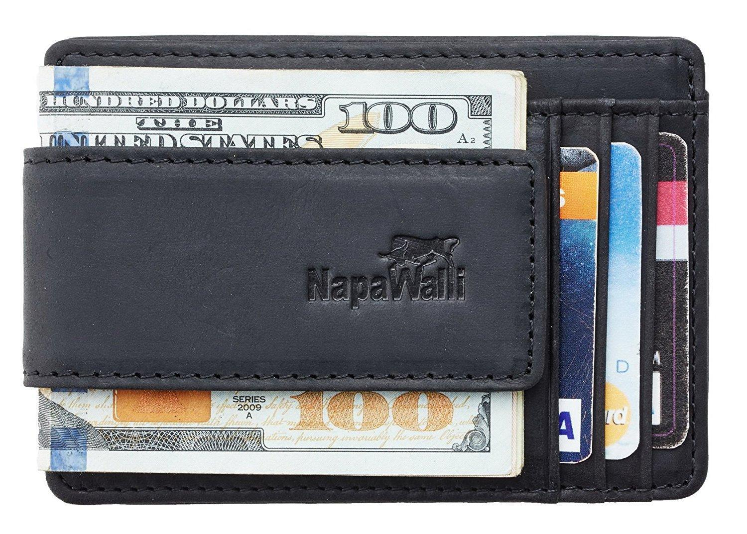 NapaWalli Magnetic Leather Money Clip Wallet